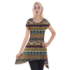 Aztec Pattern Short Sleeve Side Drop Tunic