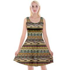 Aztec Pattern Reversible Velvet Sleeveless Dress