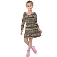 Aztec Pattern Kids  Long Sleeve Velvet Dress