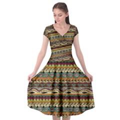 Aztec Pattern Cap Sleeve Wrap Front Dress