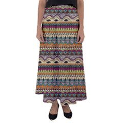 Aztec Pattern Flared Maxi Skirt