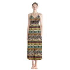 Aztec Pattern Button Up Chiffon Maxi Dress