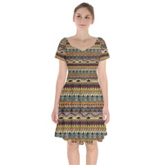 Aztec Pattern Short Sleeve Bardot Dress