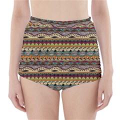 Aztec Pattern High Waisted Bikini Bottoms
