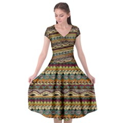 Aztec Pattern Cap Sleeve Wrap Front Dress