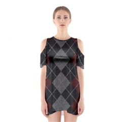 Wool Texture With Great Pattern Shoulder Cutout One Piece