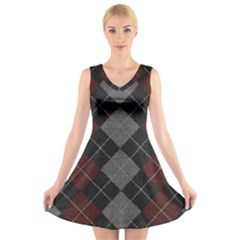 Wool Texture With Great Pattern V Neck Sleeveless Skater Dress