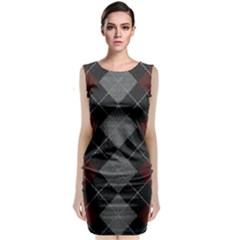 Wool Texture With Great Pattern Sleeveless Velvet Midi Dress