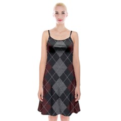 Wool Texture With Great Pattern Spaghetti Strap Velvet Dress