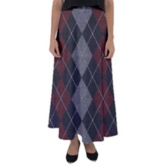 Wool Texture With Great Pattern Flared Maxi Skirt
