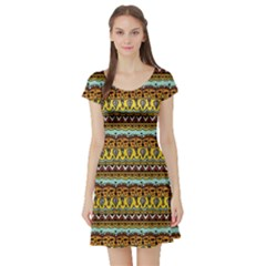 Bohemian Fabric Pattern Short Sleeve Skater Dress