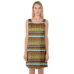 Bohemian Fabric Pattern Sleeveless Satin Nightdress