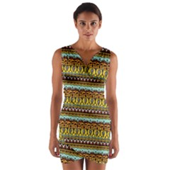 Bohemian Fabric Pattern Wrap Front Bodycon Dress