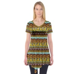 Bohemian Fabric Pattern Short Sleeve Tunic
