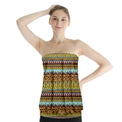 Bohemian Fabric Pattern Strapless Top
