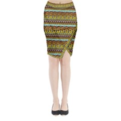 Bohemian Fabric Pattern Midi Wrap Pencil Skirt