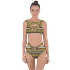 Bohemian Fabric Pattern Bandaged Up Bikini Set