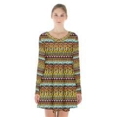 Bohemian Fabric Pattern Long Sleeve Velvet V Neck Dress