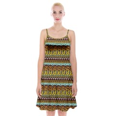 Bohemian Fabric Pattern Spaghetti Strap Velvet Dress