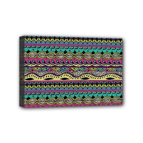 Aztec Pattern Cool Colors Mini Canvas 6  x 4