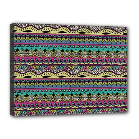 Aztec Pattern Cool Colors Canvas 16  X 12