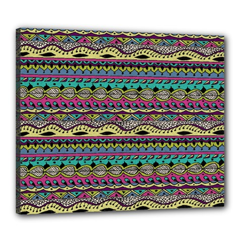Aztec Pattern Cool Colors Canvas 24  x 20