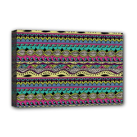 Aztec Pattern Cool Colors Deluxe Canvas 18  X 12