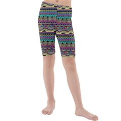 Aztec Pattern Cool Colors Kids  Mid Length Swim Shorts