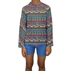 Aztec Pattern Cool Colors Kids  Long Sleeve Swimwear