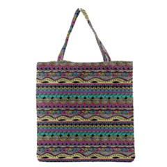 Aztec Pattern Cool Colors Grocery Tote Bag