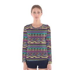 Aztec Pattern Cool Colors Women s Long Sleeve Tee