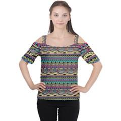 Aztec Pattern Cool Colors Women s Cutout Shoulder Tee