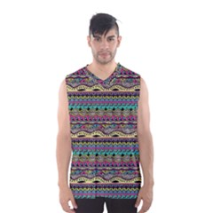 Aztec Pattern Cool Colors Men s Basketball Tank Top