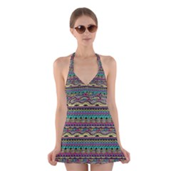 Aztec Pattern Cool Colors Halter Swimsuit Dress