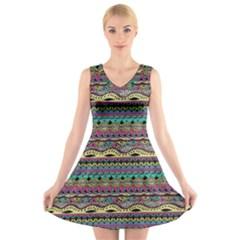 Aztec Pattern Cool Colors V Neck Sleeveless Skater Dress