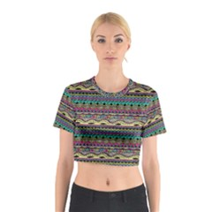 Aztec Pattern Cool Colors Cotton Crop Top