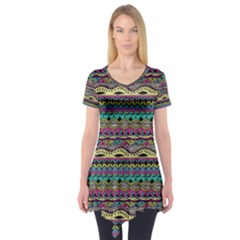 Aztec Pattern Cool Colors Short Sleeve Tunic