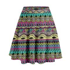 Aztec Pattern Cool Colors High Waist Skirt