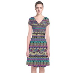 Aztec Pattern Cool Colors Short Sleeve Front Wrap Dress