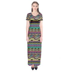 Aztec Pattern Cool Colors Short Sleeve Maxi Dress