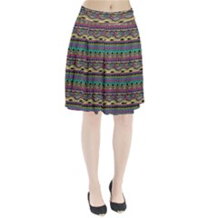 Aztec Pattern Cool Colors Pleated Skirt