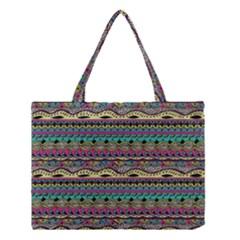Aztec Pattern Cool Colors Medium Tote Bag