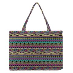Aztec Pattern Cool Colors Medium Zipper Tote Bag