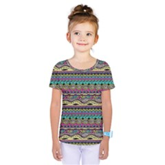 Aztec Pattern Cool Colors Kids  One Piece Tee