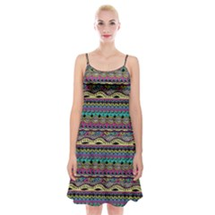 Aztec Pattern Cool Colors Spaghetti Strap Velvet Dress