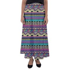 Aztec Pattern Cool Colors Flared Maxi Skirt