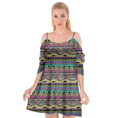Aztec Pattern Cool Colors Cutout Spaghetti Strap Chiffon Dress