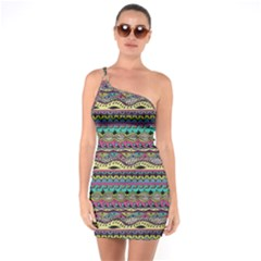 Aztec Pattern Cool Colors One Soulder Bodycon Dress