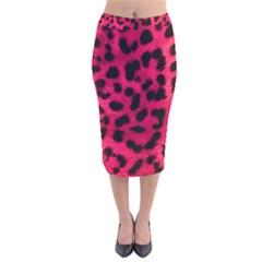 Leopard Skin Velvet Midi Pencil Skirt