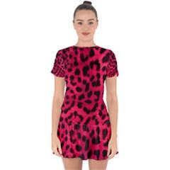Leopard Skin Drop Hem Mini Chiffon Dress